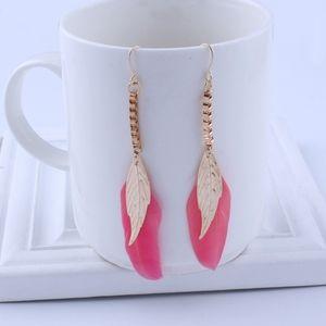 Jewelry - Pink Feather Gold Tassel Boho Statement Earrings